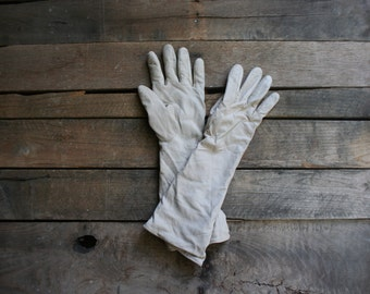 Vintage Off White Long Leather Gloves - Gatsby Gloves - Lawn Party Gloves