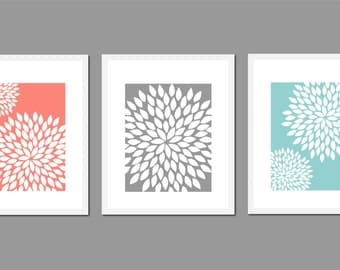 Teal Aqua Coral Grey Flower Bursts Art Prints Dahlia Wall Art Set Of Three 5x7
