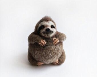 Needle felted sloth, round sloth