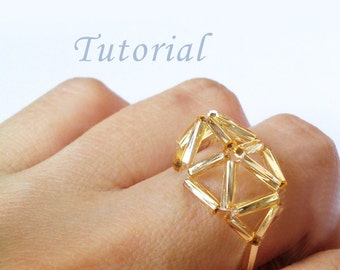 Geometric Ring Pattern Tutorial Bugle Beads Weaving Beaded Gift For Her Stick Beads Golden Beads Easy Simple