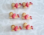 Vintage Mini Pink Girl Cup Cake Topper, Miniature Plastic Pink Ballerinas for Crafts, Glitter Putz House Diorama Supplies