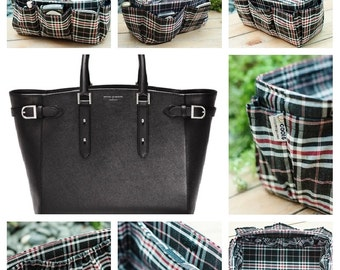 Tote Bag organizer insert keeps everything organized in purse black plaid Extra Large 30x12cm