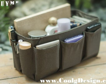 Purse organizer Insert, Bag and Handbag Organizer, Extra Sturdy, Solid Brown / Medium 22x8cm