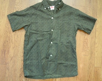 Vintage 1960s Patterned Short Sleeve Button-Down XS-S