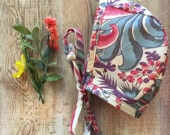 Baby Bonnet, cotton, floral, sun bonnet, floral, spring