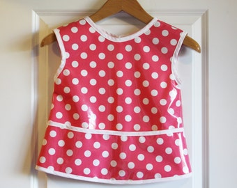 SALE 20% OFF Kids 6/7 Waterproof Art Smock Girls Art Apron with Pink and Dots