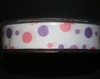 5 Yards  - 7/8 Inch Grosgrain / Bubble Dots Ribbon -  355-17 PINK/PURPLE