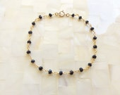Faceted Black Spinel Rondelle Vermeil Wire Wrapped Chain Bracelet (B1178)