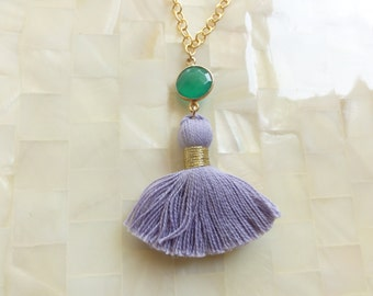 Faceted Green Onyx Vermeil Bezel Connector and Lavender Cotton Tassel on Gold Chain Necklace (N1717)
