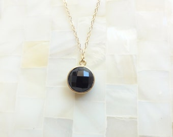 Step-Cut Faceted Black Onyx Vermeil Bezel Round Pendant on Gold Chain Necklace (N1732)
