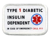 DIABETIC Type 1 Insulin Dependent Rectangle 2 x 3 inch Sew-on Patch (Choose Rim Color)