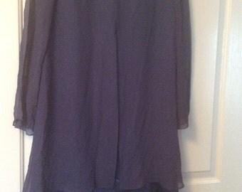 Silk dress:Jeannene booher/silk satin sheer silk chiffon overlay & slvs/ sz 6, will fit 8/10 kneelong, Navy blue/60s/back zipper