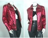 90s 80s leather metallic iridescent red motorcycle jacket