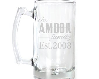 Personalized Large Beer Mug - 25 oz. - 8545 Family Personalized with Date