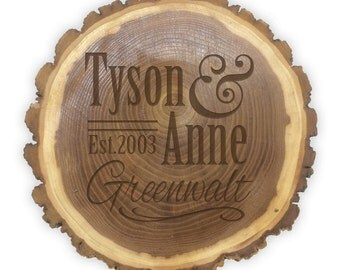 Personalized Rustic Log Plaque- 11090 Personalized Full Name with Established Date