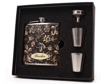 Personalized flask for women // Black and cream floral gift set