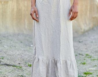 Asymmetrical long Skirt ~ Linen cotton ~