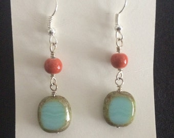 Boho chic coral and agate drop earrings