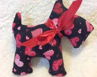 Stuffed Scottie Dog -plush - black with red hearts - glitter