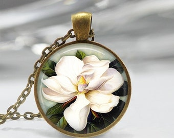 ON SALE White Magnolia Necklace Flower Jewelry Spring Nature Floral Art Pendant in Bronze or Silver with Link Chain Included