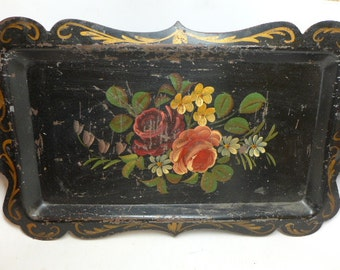 Vintage Toleware Tray - Toleware Plater - Hand Painted Toleware Tray - Home Décor