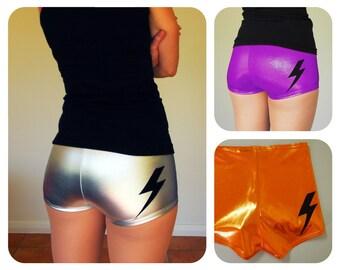 Shiny Lightning Bolt Roller Derby Shorts - Pre-Order