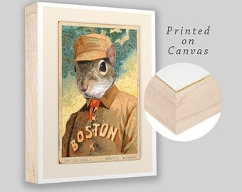 "Kid Squirrely of the Boston Beaneaters - Box Frame canvas print - 8""x10"" - Vintage old time baseball card print-  Ready to hang!"
