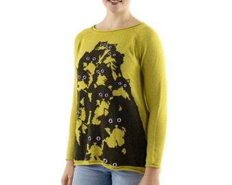 Chartreuse Crazy Kitty Sweater