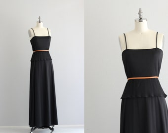 Black Maxi Dress . Vintage Peplum Dress . Black Boho Chic Evening Dress