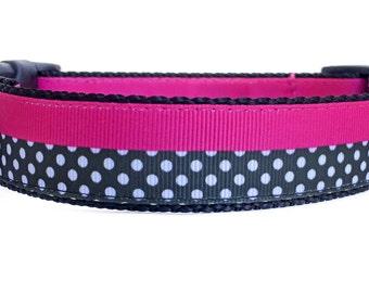 Pink Black Collar / Polka Dot Dog Collar / Striped Dog Collar / Girl Dog Collar / Nylon Webbing Dog Collar / Pink Black Polka Dot Collar