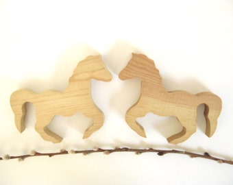 Supply - Pair of Wooden Horses // Wood // Found Object // Supply // Supplies // Horse Shapes // Cut Out