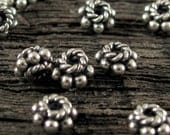20 Small Bali Spacer Beads  in Sterling Silver Oxidized   2.5mm  x 4mm-  Dotted Fancy Bali Beads -  MB89