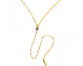 Gemstone Glimmer Lariat - Labradorite/Gold