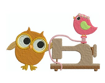 SEWING OWL 9 - Machine Filled Embroidery - Instant Digital Download