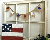 Patriotic Banner, July 4 MIni Banner, July 4th Bunting, July 4th Mini Burlap Banner, 4th July, Red White Blue, July 4 Decor, Patriotic Decor