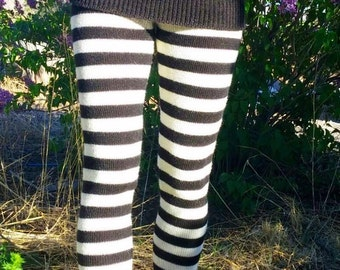 Made to order-Knit alpaca striped leggings