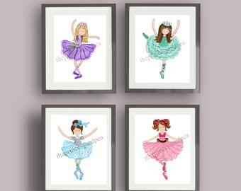 Ballerina art, ballet art prints, ballet girl wall art decor, dancing art prints, ballerina bedding art, ballet nursery