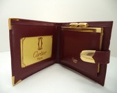 Vintage New Used Signed Cartier Leather Wallet Burgandy Fold Over with Clasp