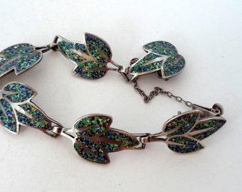 Vintage Signed Margot De Taxco 5406 Confetti Enamel Bracelet Sterling Links Melange