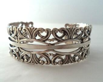 Vintage Signed Margot de Taxco Sterling Cuff Bracelet #5303