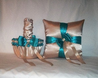 Champagne Satin With Teal Trim Flower Girl Basket And Ring Bearer Pillow Set 1