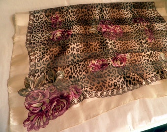 Italian Scarf, leopard print and roses