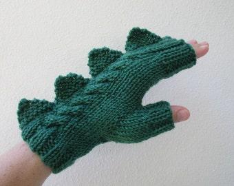Dragon, dinosaur, crocodile, godzilla or  monster dark green  fingerless mittens,  wool and milk fibre