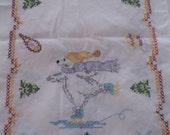 Vintage Christmas Table Runner, Stitched Polar Bear Skater Tablecloth