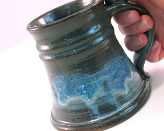 Stein, 12 oz.Tankard,  Coffee Mug - Handmade Pottery - Retro Blue and Brown