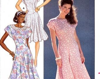 Butterick 6198 Vintage 80s Sewing Pattern for Misses' Dress - Uncut - Size 8, 10, 12