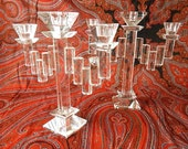 Pair French Art Deco Crystal Candlesticks Elegant Matched Pair