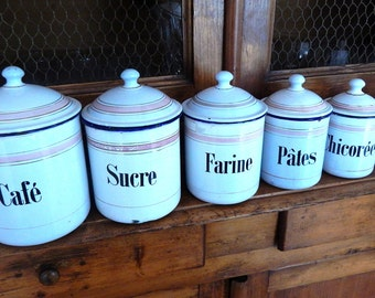 6 French Vintage Enamelware Canisters with Lids with Pink Decoration LOWER PRICE