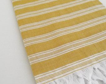 SALE 70 OFF/ Turkish Beach Bath Towel Peshtemal / Mustard Color / Wedding Gift, Spa, Swim, Pool Towels and Pareo