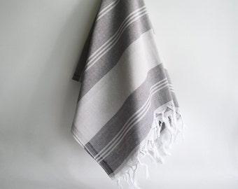 SALE 50 OFF/ Turkish Beach Bath Towel Peshtemal / Gray - Brown / Wedding Gift, Spa, Swim, Pool Towels and Pareo